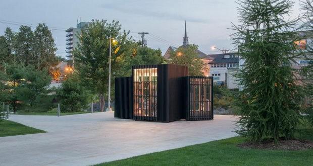 Библиотека која наутро се отвора како книга а ноќе се затвора во светлечка коцка