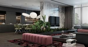 Темен дизајн на дом со софистициран акцент на бои