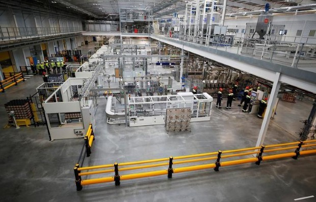 General view of the production line at AkzoNobel's new paint factory in Ashington, Britain