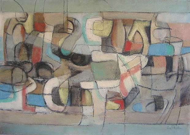 """Пејзаж, 1965, масло на платно, 50x70 смсопст. Фондација """"Ибрахим Кодра"""", Милано, ИталијаPeisazhi, 1965,vaj në pëlhurë, 50x70 cmpronë Fondacioni """"I"""