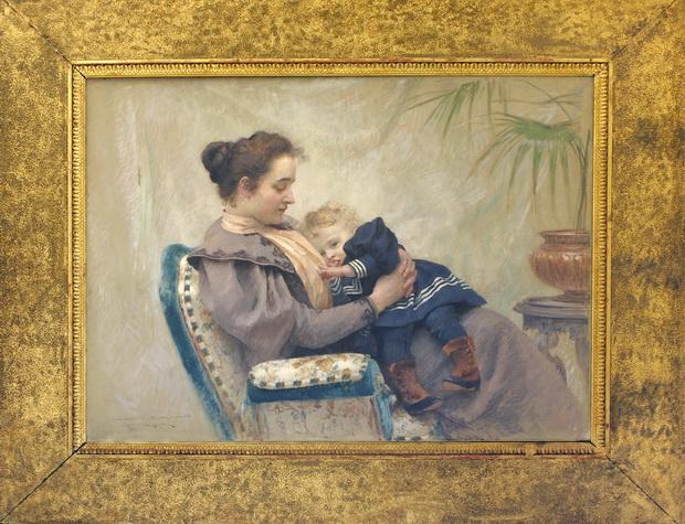 152. Буковац Влахо, Мајка и дете, 1894, масло на платно, 96х152