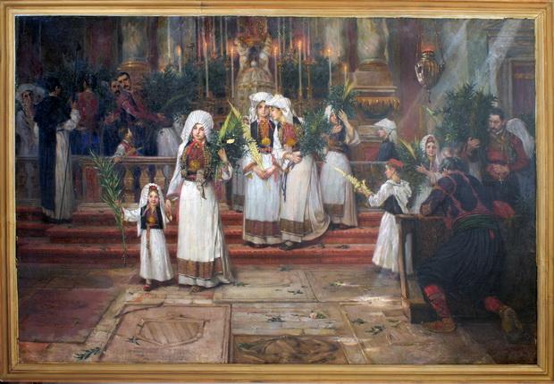 359. Мурат Марко, Внатрешност на црквата Св. Влахо-Дубровник, масло , 1898 (околу), 118х177