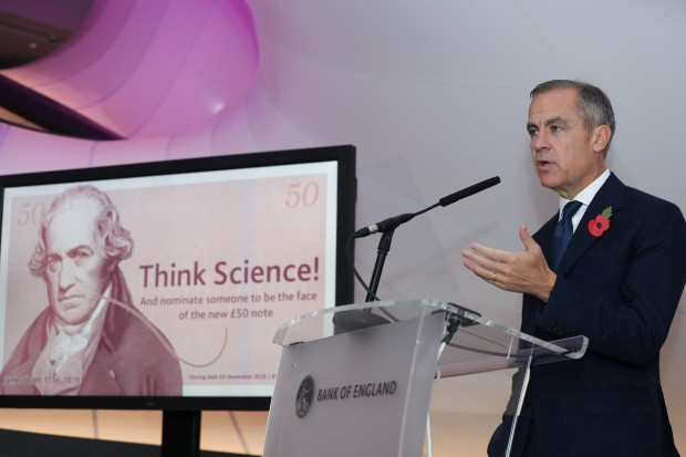 Britain's Governor of the Bank of England, Mark Carney, speaks during a news conference to launch the character selection process for the new £50 note at the Science Museum in London