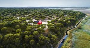Мала црвена куќа која разбива зелено опкружување