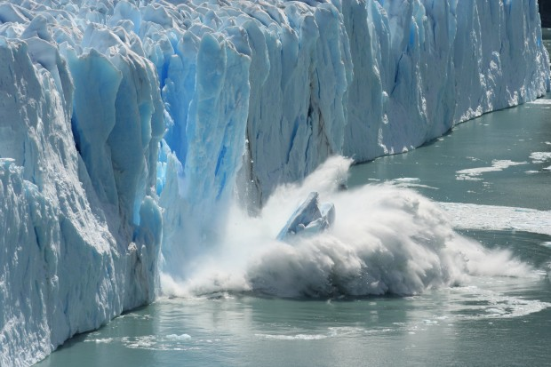 Melting Glacier in a Global Warming Environment