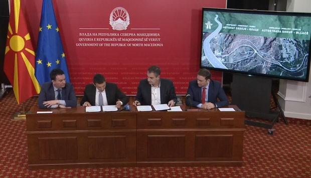 Потпишан договорот за изградба на два километри од автопатот Скопје- Блаце