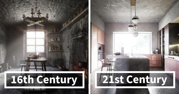 Дизајнери покажаа како се менувале кујните во последните 500 години