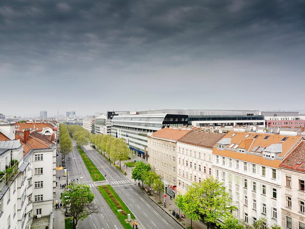 Elevated view of city road, Vienna, Austria