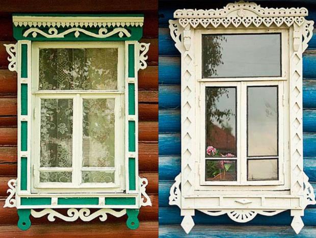 """Дрвени прозорски рамки """"наличники"""" во Русија"""