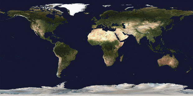 World map, satellite image