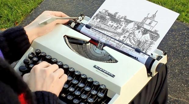 Уметнички креации со помош на машина за пишување