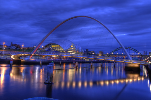 Gateshead of millennium bridge at dusk, uk, england image in Architecture and Buildings category at pixy.org