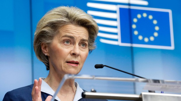 (210227) -- BRUSSELS, Feb. 27, 2021 -- European Commission President Ursula von der Leyen attends a press conference af