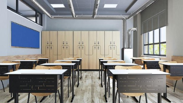 Modern classroom design with modern desk and seat realistic 3D r