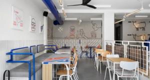Бургер – бар каде духовитата декорација е во контраст со сериозноста на бетонот
