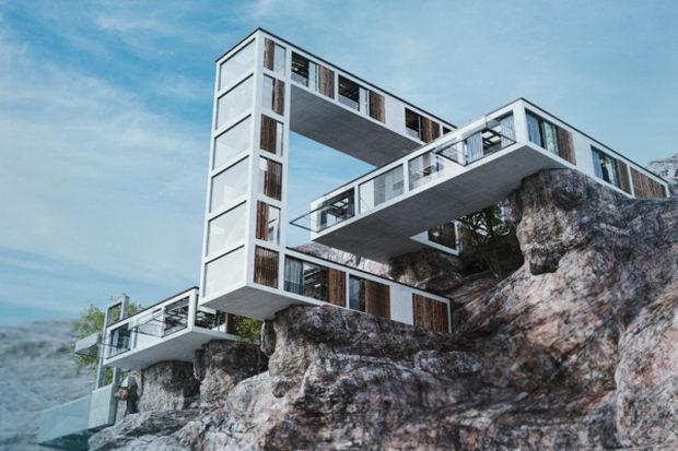 Куќа која личи на играта Тетрис